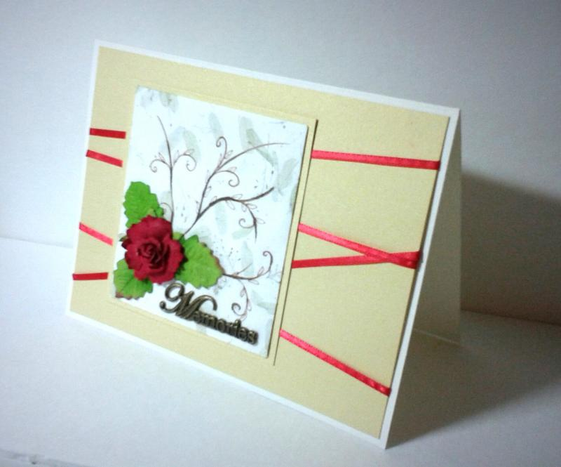 Memories, Red Rose on Green Leaves, Gold Background 160602